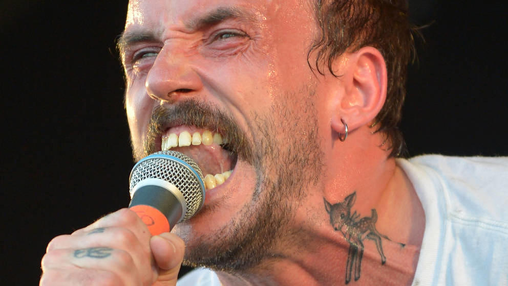 GLASTONBURY, ENGLAND - JUNE 28:  Joe Talbot of IDLES performs live on the Park stage during day three of Glastonbury Festival
