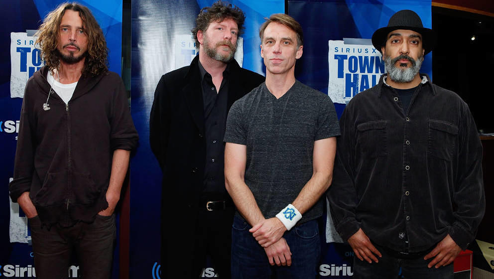 NEW YORK, NY - NOVEMBER 14:  Chris Cornell, Ben Shepherd, Matt Cameron and Kim Thayil of Soundgarden attend 'SiriusXM's Town