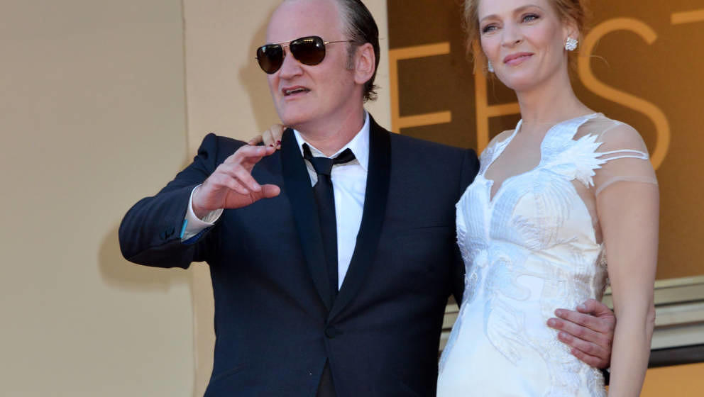 CANNES, FRANCE - MAY 24:  Quentin Tarantino and Uma Thurman attend the Closing Ceremony and 'A Fistful of Dollars' Screening
