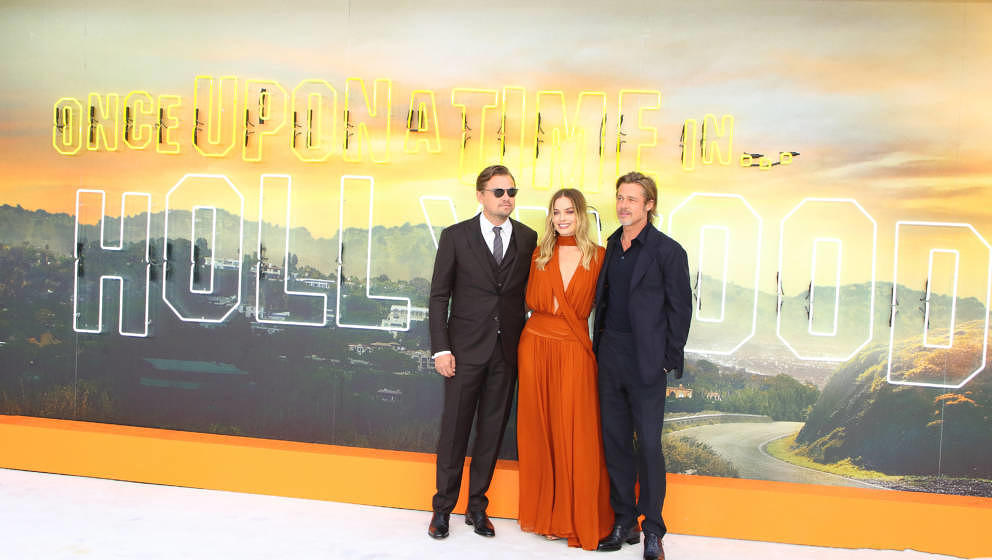 LONDON, UNITED KINGDOM - 2019/07/30: Leonardo DiCaprio, Margot Robbie and Brad Pitt on the red carpet for the Once Upon A Tim