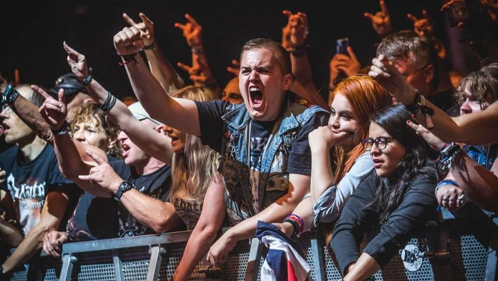 WACKEN, GERMANY - AUGUST 01: Festival Fan celebrating the performance of Sabaton during the Wacken Open Air festival on Augus