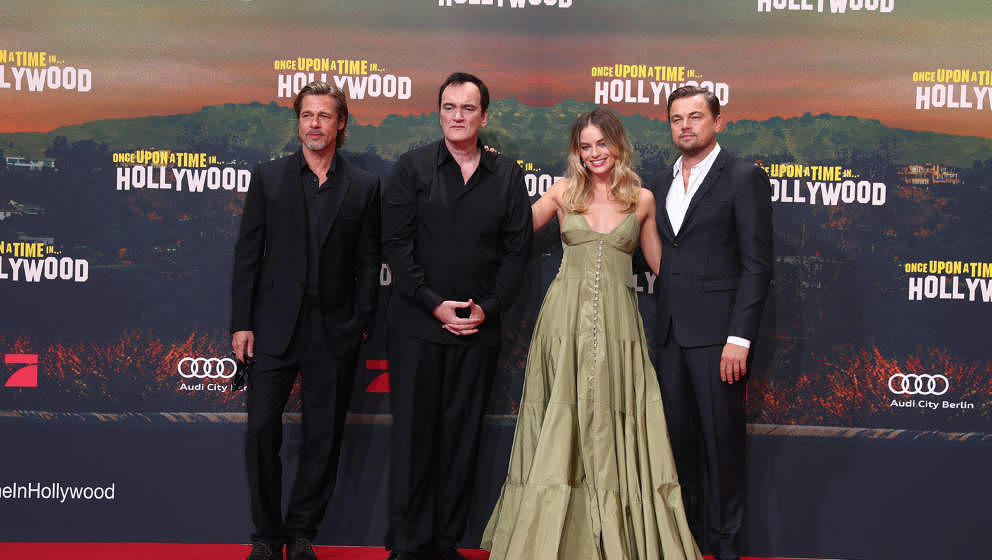 "Brad Pitt, Quentin Terantino, MArgot Robbie und Leonardo DiCaprio bei der Deutschlandpremiere von ""Once Upon A Time in Hollywood"" in Berlin am 1. August 2019"