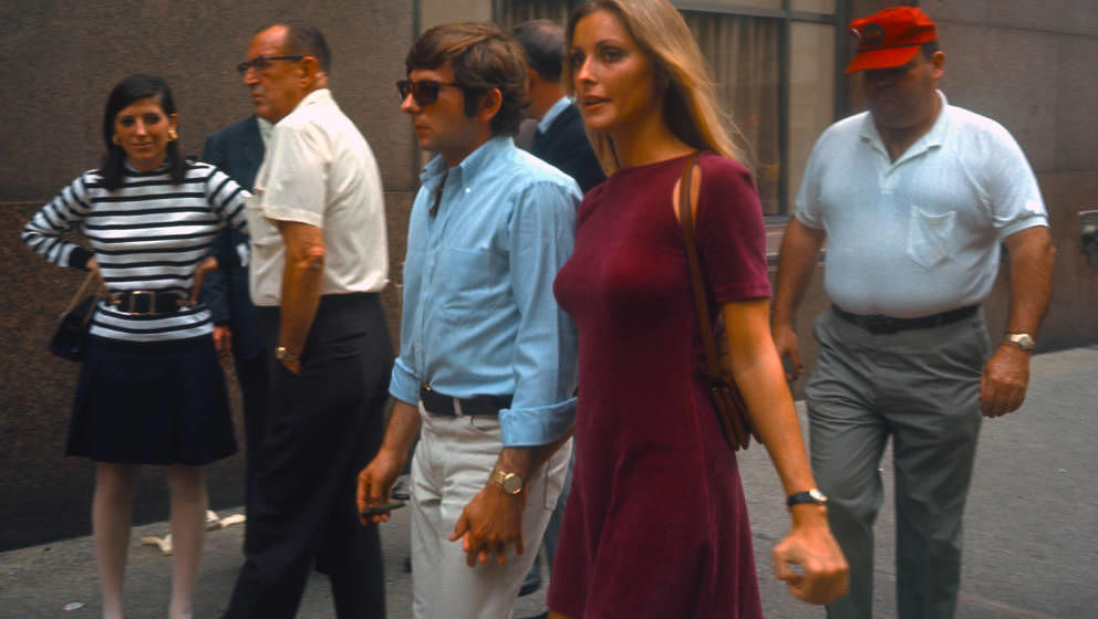 NEW YORK - AUGUST 15:  Actress Sharon Tate with her husband Roman Polansky visiting the set of Rosemary's Baby on August 15,1
