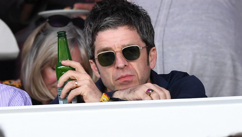 LONDON, ENGLAND - JULY 12: Noel Gallagher watches Neil Young perform as part of a historic double bill with Bob Dylan at Hyde