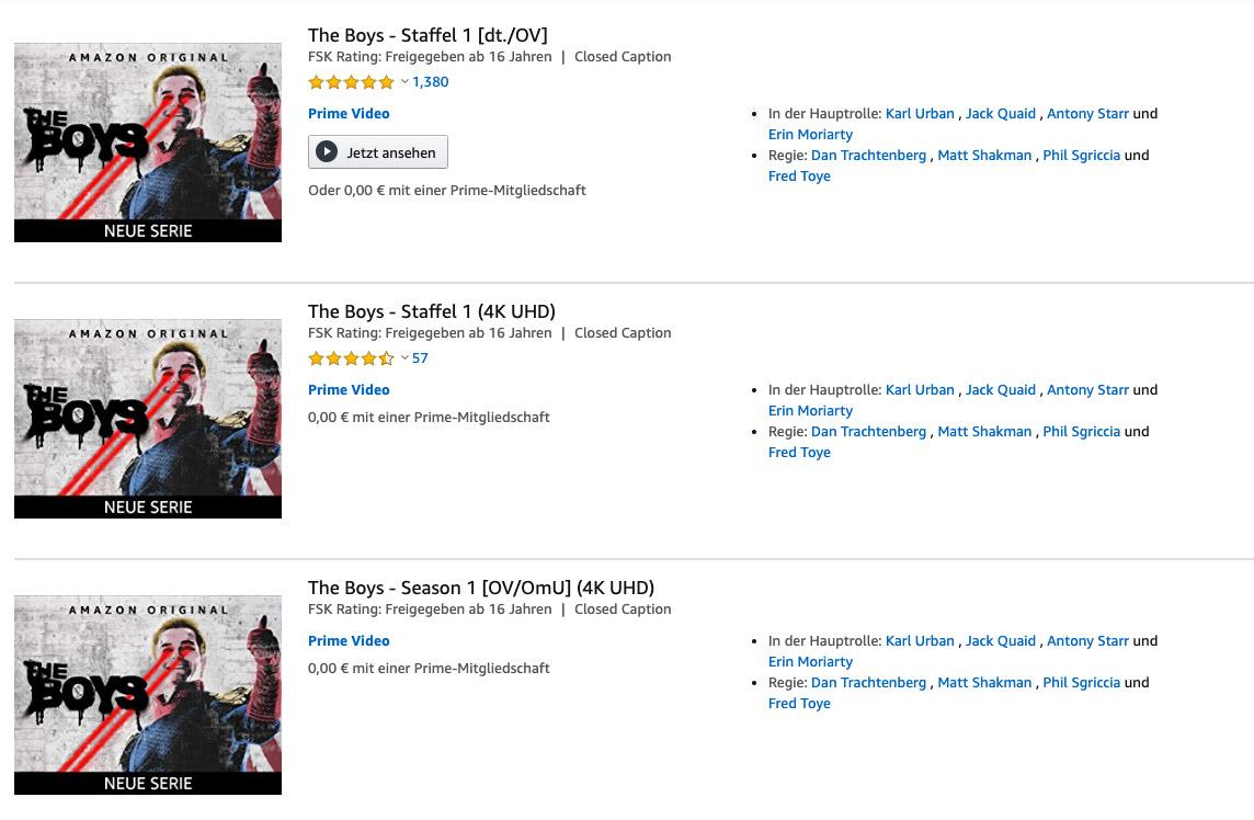 """Wer nach """"The Boys"""" sucht, findet die Serie gleich drei Mal bei Amazon Prime Video (Screenshot aus dem Webinterface)"""