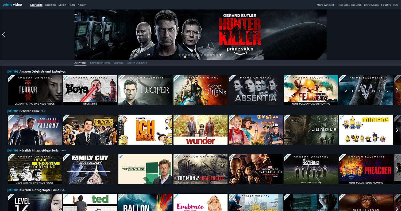 Amazon Prime Video wirkt auf den ersten Blick sehr aufgeräumt (Screenshot vom Webinterface)