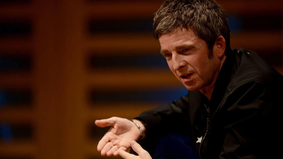 LONDON, ENGLAND - OCTOBER 23:  Noel Gallagher speaks on stage during the launch of his new book 'Any Road Will Get Us There (