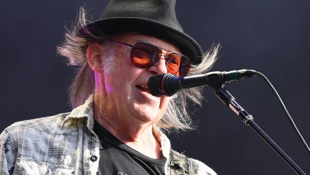 LONDON, ENGLAND - JULY 12: Neil Young performs as part of a historic double bill with Bob Dylan at Hyde Park on July 12, 2019