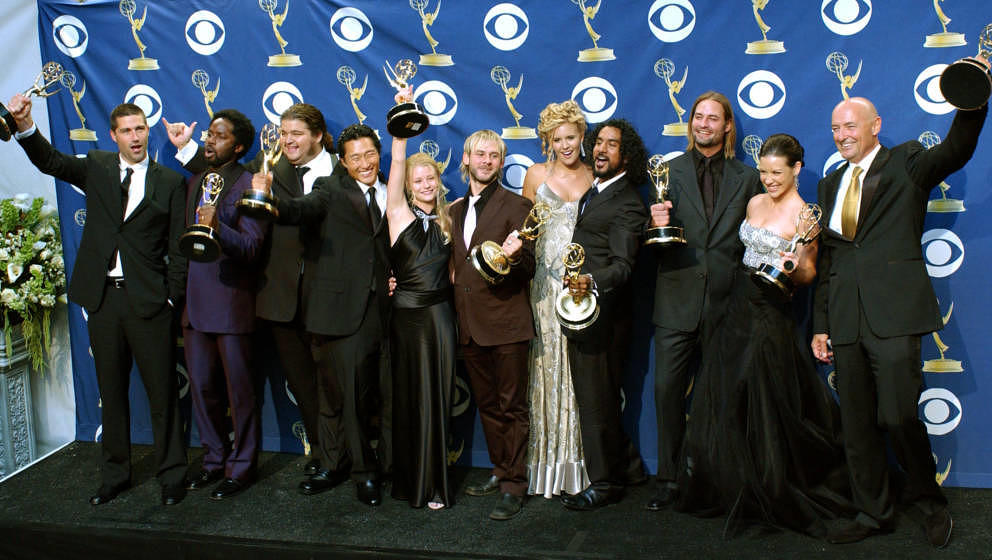 Cast of 'Lost,'  LtoR Matthew Fox, Harold Perrineau Jr., Jorge Garcia, Daniel Dae Kim, Emilie de Ravin, Dominic Monaghan, Mag