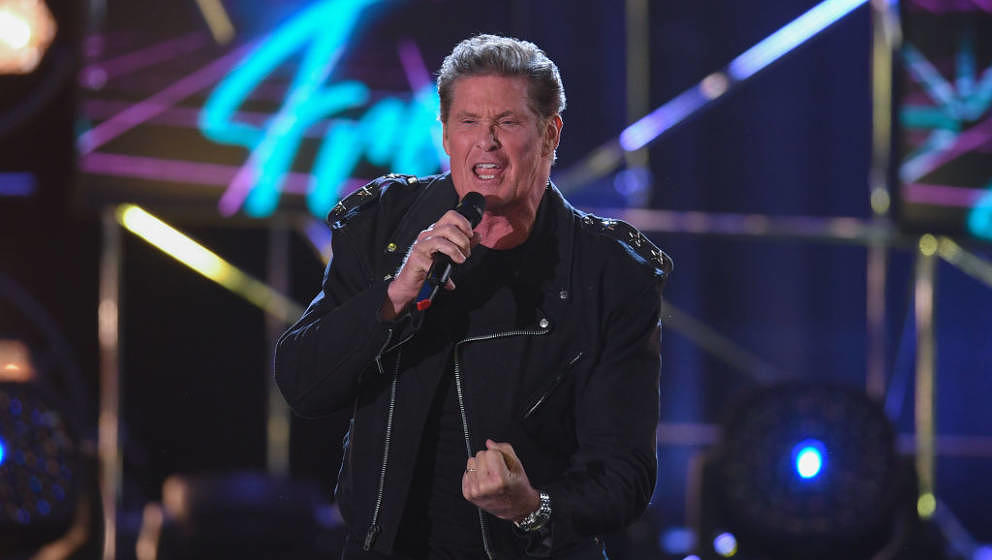 OFFENBURG, GERMANY - APRIL 12: David Hasselhoff performs on stage during the taping of the show '50 Jahre Hitparade' on April