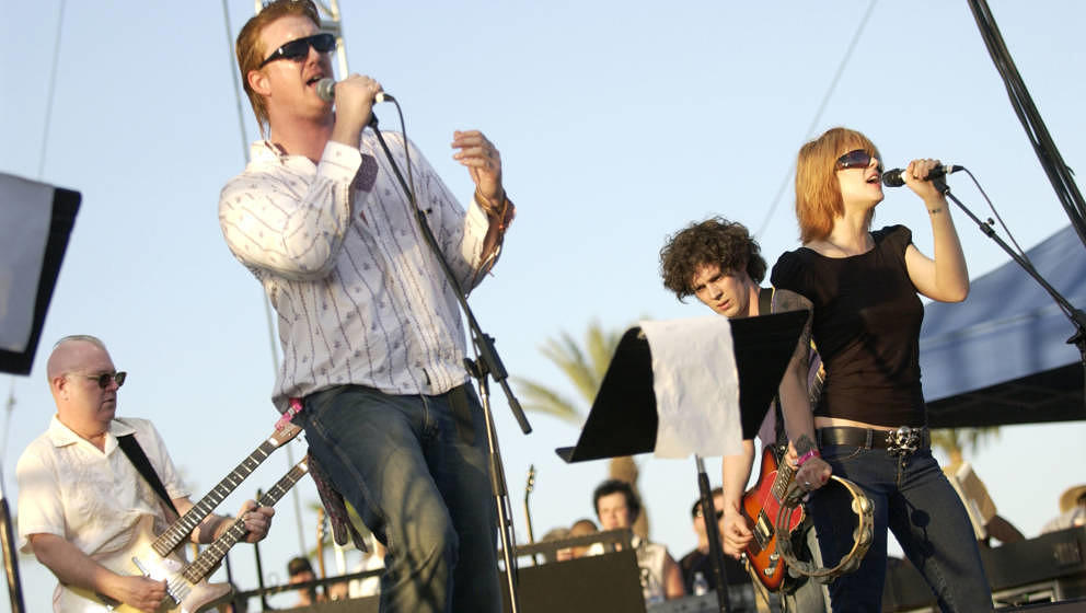 INDIO, CA - MAY 1:  Josh Homme (Left) and Brody Armstrong of the Desert Sessions (super band) performing at the Coachella Mus