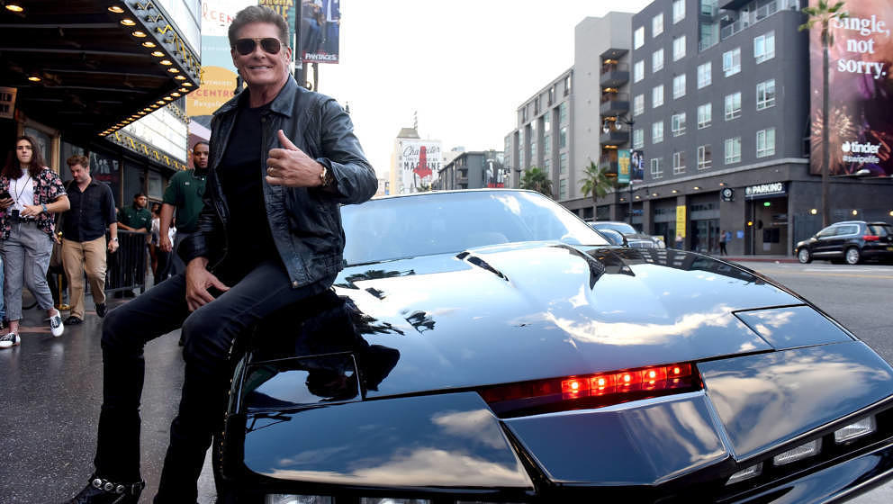 LOS ANGELES, CA - OCTOBER 12:  Actor David Hasselhoff attends the Strange 80's Benefit Concert in the original KITT car from