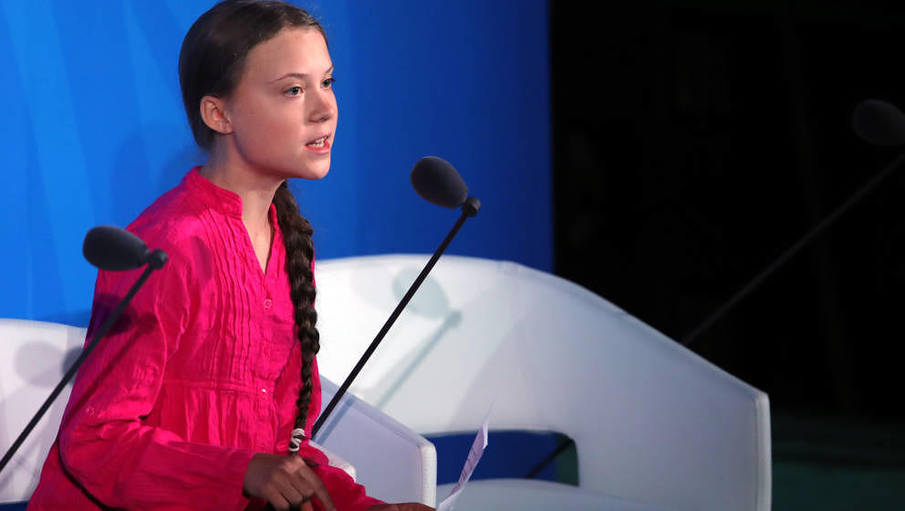 Greta Thunberg am 23. September 2019 bei ihrer Rede beim UN-Klimagipfel in New York