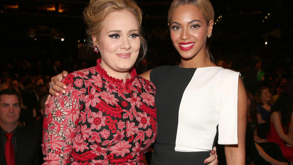 LOS ANGELES, CA - FEBRUARY 10: Singers Adele and Beyonce attends the 55th Annual GRAMMY Awards at STAPLES Center on February