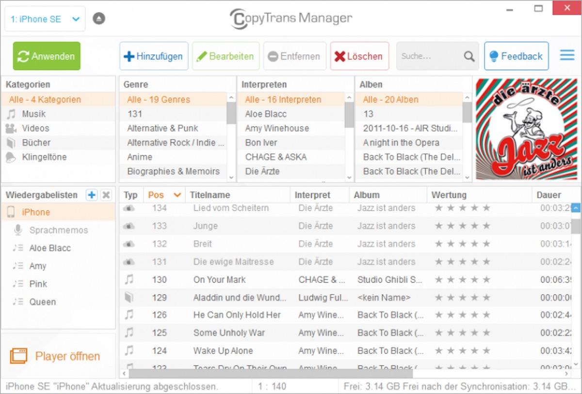 Mit dem CopyTrans Manager lassen sich Filme, Songs, Hörbücher, Podcasts und sogar Klingeltöne verwalten und übertragen