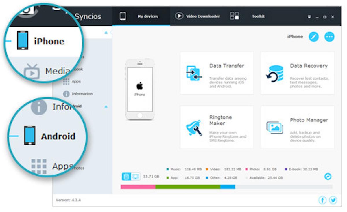 Syncios passt beim Übertragen das Format eines Datei mittels eines integrierten Converters automatisch an