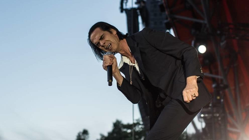 Denmark, Roskilde - July 6, 2018. The Australian musician, composer and singer Nick Cave performs a live concert with his ban