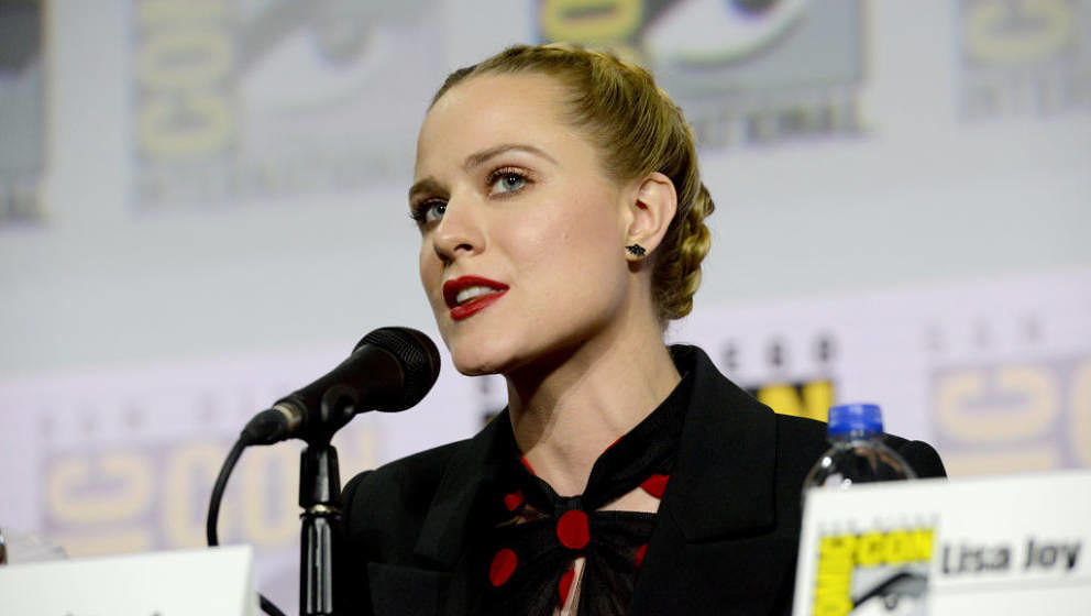 SAN DIEGO, CALIFORNIA - JULY 20: Evan Rachel Wood speaks at the 'Westworld III' Panel during 2019 Comic-Con International at