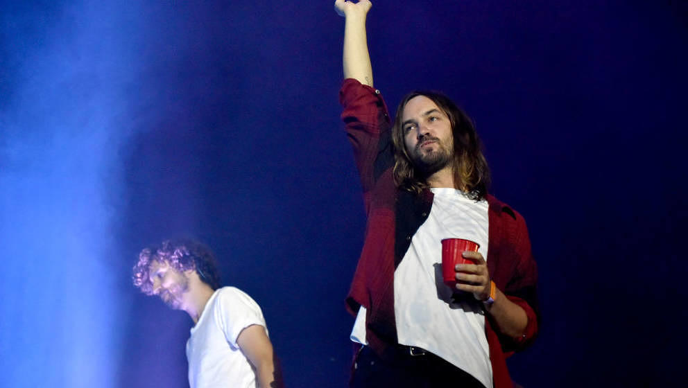 AUSTIN, TEXAS - OCTOBER 04: Kevin Parker (R) of Tame Impala performs during the ACL Music Festival 2019 at Zilker Park on Oct