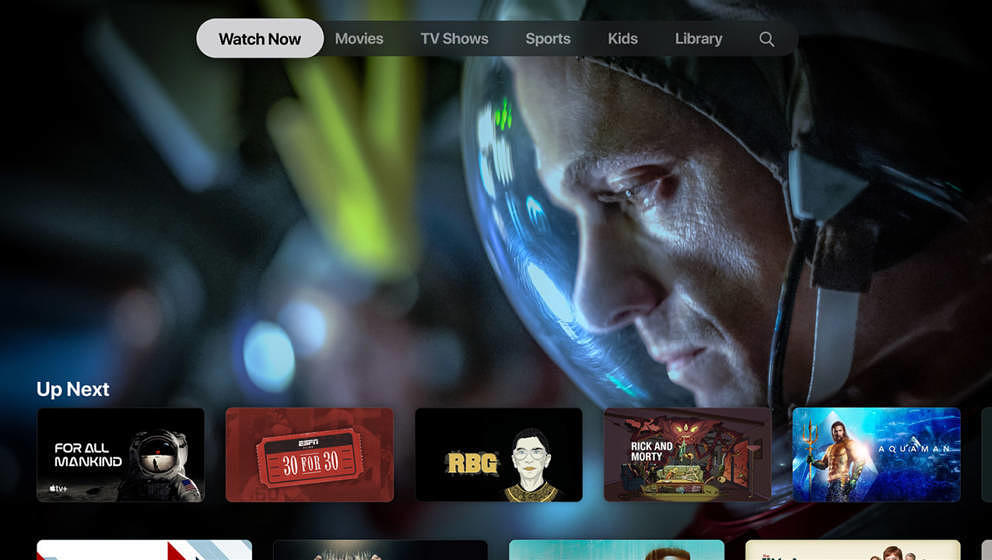 Das Interface von Apple TV+ ist sehr rudimentär