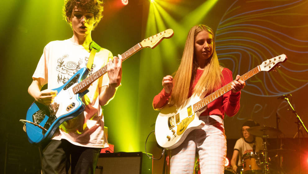 LONDON, ENGLAND - NOVEMBER 29:  Finn Wolfhard and Ayla Tesler-Mabe of Calpurnia perform at KOKO on November 29, 2018 in Londo