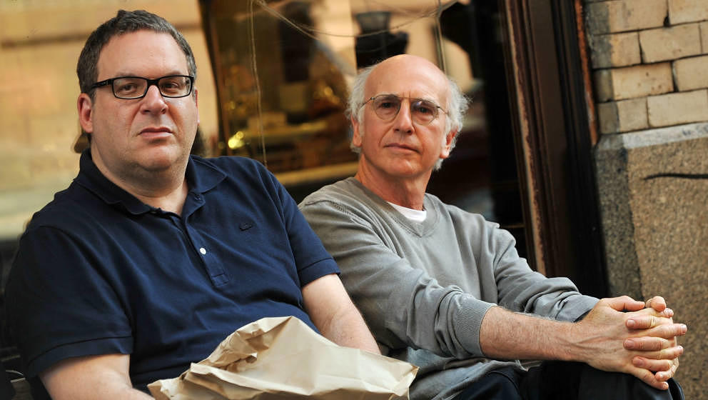"Jeff Garlin und Larry David am Set von ""Curb Your Enthusiasm"" in New York"