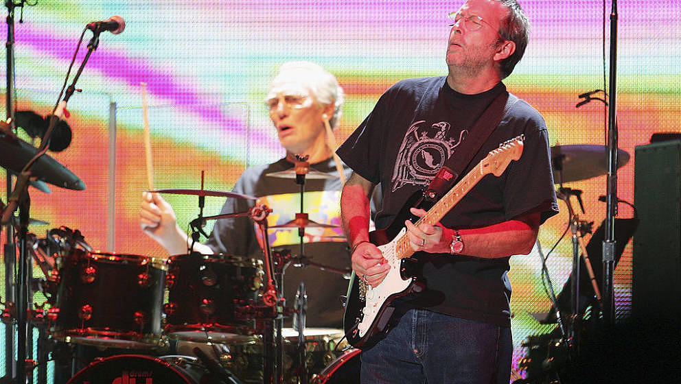 NEW YORK - OCTOBER 25:  Eric Clapton (R) and Ginger Baker of Cream perform onstage at Madison Sqaure Garden October 25, 2005