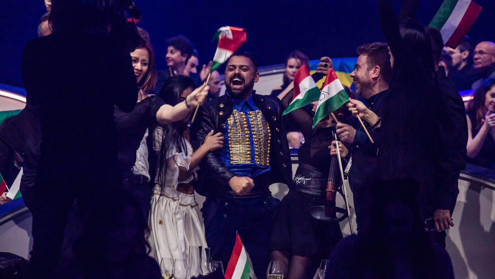 KIEV, UKRAINE - MAY 12: Joci Papai, the contestant from Hungary, celebrates qualifying for the Eurovision Grand Final after t