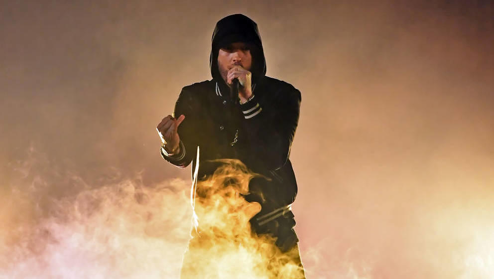 INGLEWOOD, CA - MARCH 11:  Eminem performs onstage during the 2018 iHeartRadio Music Awards which broadcasted live on TBS, TN