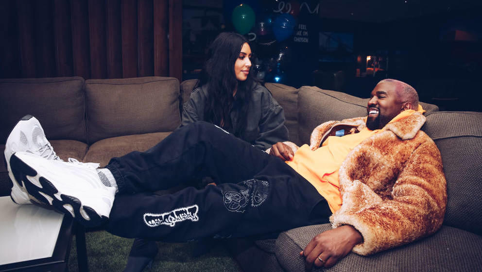 INGLEWOOD, CALIFORNIA - DECEMBER 19:  In this handout photo provided by Forum Photos, Kim Kardashian West and Kanye West atte