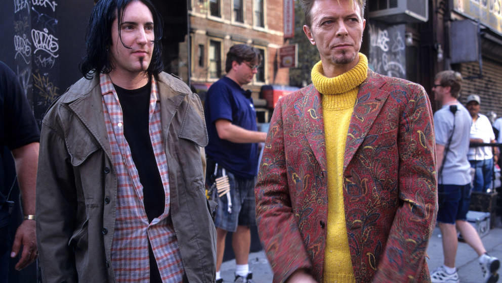 Trent Reznor and David Bowie during David Bowie Video shoot for 'I'm Afraid of Americans' in New York City, New York, United