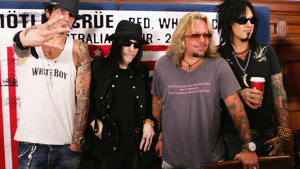 SYDNEY, NSW - DECEMBER 02: (L-R) Tommy Lee, Mick Mars, Vince Neil and Nikki Sixx of American band Motley Crue pose at the end