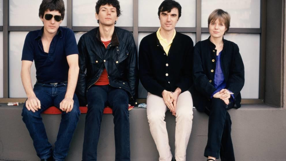 HOLLYWOOD, CA - DECEMBER 1977:  Chris Frantz, Jerry Harrison, David Byrne, and Tina Weymouth of the Talking Heads pose for pu
