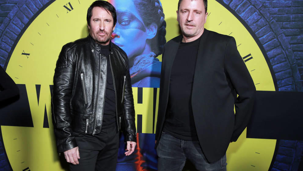LOS ANGELES, CALIFORNIA - OCTOBER 14: (L-R) Trent Reznor and Atticus Ross attend the premiere of HBO's 'Watchmen' at The Cine