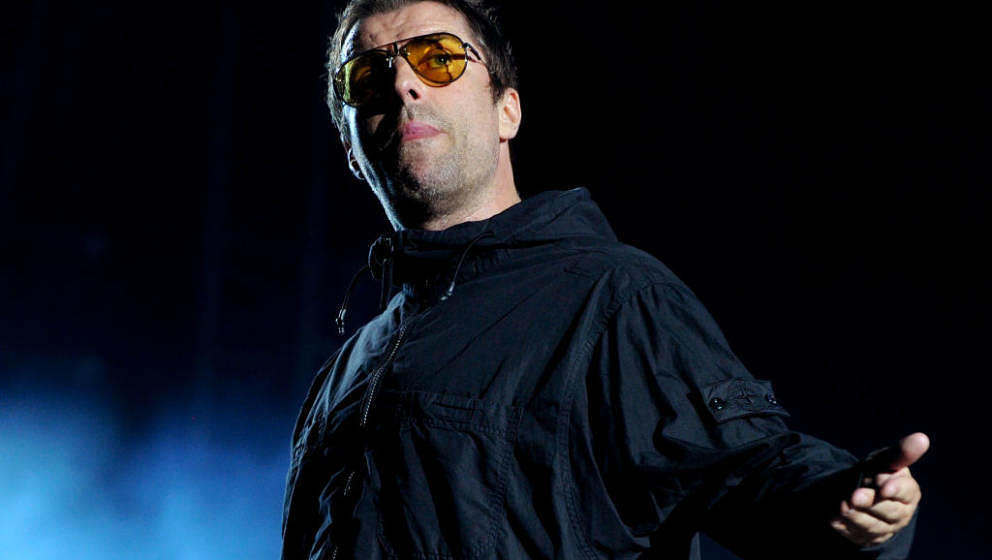 MANCHESTER, ENGLAND - AUGUST 18:  Liam Gallagher performs at Emirates Old Trafford on August 18, 2018 in Manchester, England.