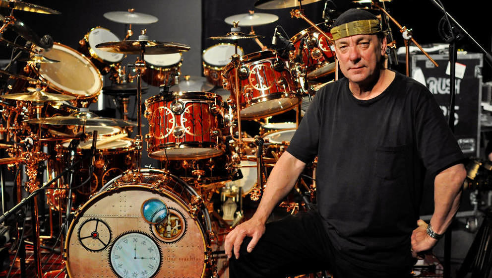 OXNARD, UNITED STATES - MAY 12: Neil Peart of Rush poses for a portrait with his DW drum kit on the Drum Channel soundstage o