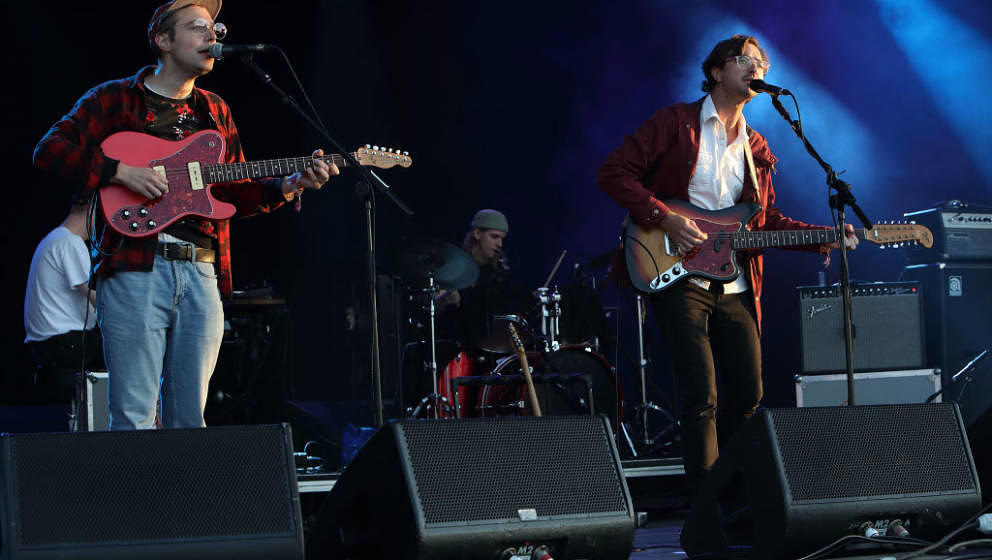 FARNHAM, DORSET - SEPTEMBER 01: Julian Lynch and Martin Courtney of Real Estate perform at End of the Road Festival at Larmer