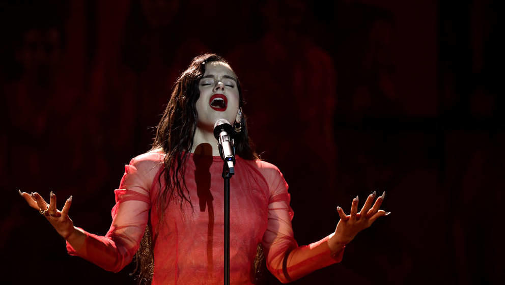 Spanish singer Rosalia performs during the 33rd Goya awards ceremony in Seville on February 2, 2019. (Photo by JAVIER SORIANO