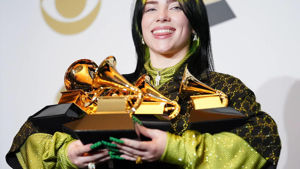 LOS ANGELES, CALIFORNIA - JANUARY 26:  Billie Eilish, winner of Record of the Year for 'Bad Guy', Album of the Year for 'when