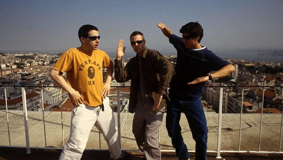 Beastie Boys, group portrait, Portugal, 1998. L-R Ad Rock, Adam Yauch and Mike Diamond. (Photo by Martyn Goodacre/Getty Image
