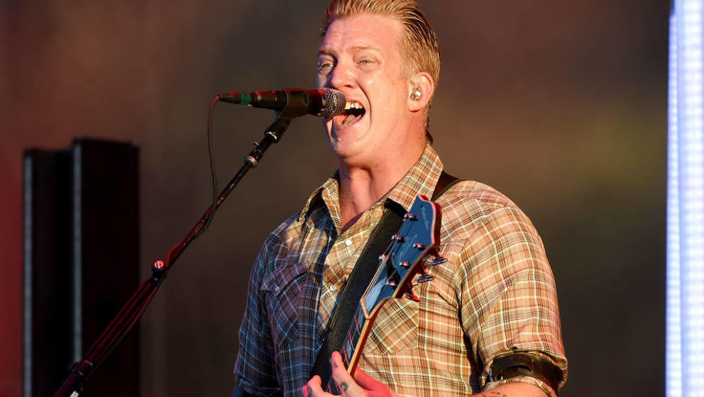 LONDON, ENGLAND - JUNE 30:  Josh Homme of Queens of the Stone Age performs on stage at Finsbury Park on June 30, 2018 in Lond