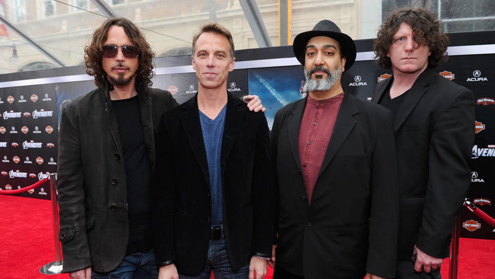 HOLLYWOOD, CA - APRIL 11:  (L-R) Musicians Chris Cornell, Matt Cameron, Kim Thayil and Ben Shepherd of Soundgarden attend the