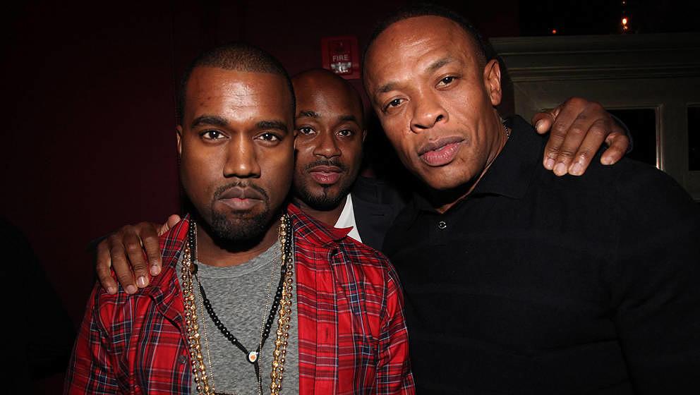 Kanye West und Dr. Dre gemeinsam im Jahr 2011. In der Mitte: Steve Stoute
