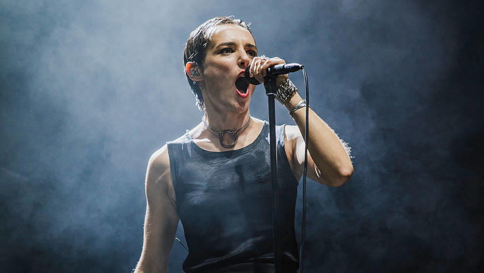 LEEDS, ENGLAND - AUGUST 26:  Jehnny Beth of Savages performs on the NME / BBC Radio 1 Stage during day 1 of Leeds Festival 20