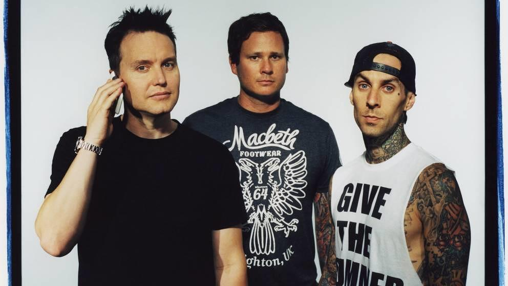 LOS ANGELES - 2011:  Band Blink 182 poses for a publicity photo shoot at the Sound Matrix Studio for their album, Neighborhoo