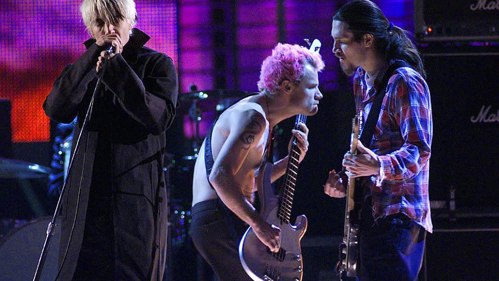 Live wieder ein Team: Anthony Kiedis, Flea, Chad Smith (nicht auf dem Foto) und John Frusciante