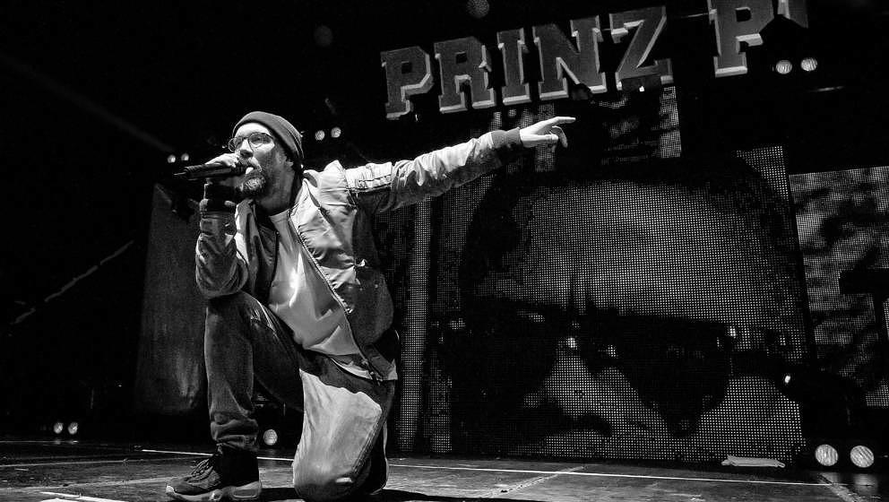 BERLIN, GERMANY - MARCH 19: (EDITORS NOTE: Image has been converted to black and white.) German rapper Prinz Pi performs live