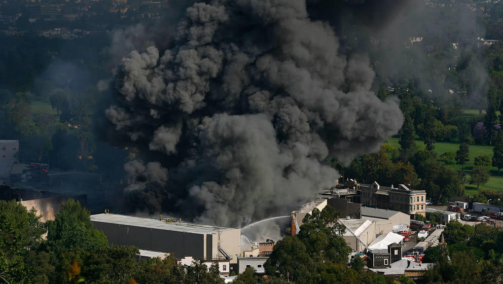 UNIVERSAL CITY, CA - JUNE 01:  Approximately 300 firefighters battle a huge fire on the backlot of Universal Studios on June