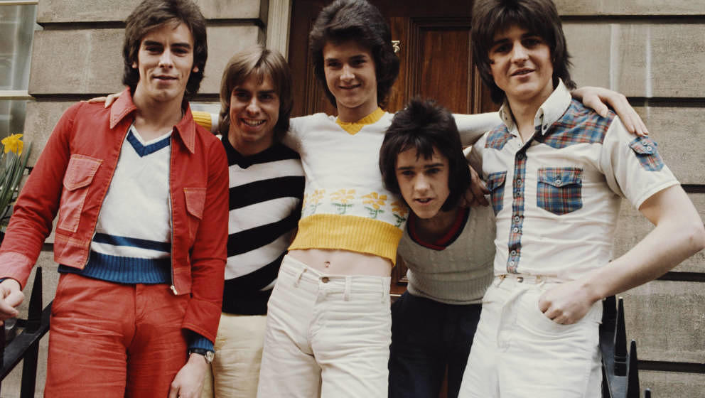 Scottish pop group The Bay City Rollers, UK, March 1974. Left to right: Eric Faulkner, Derek Longmuir, Les Mckeown, Alan Long