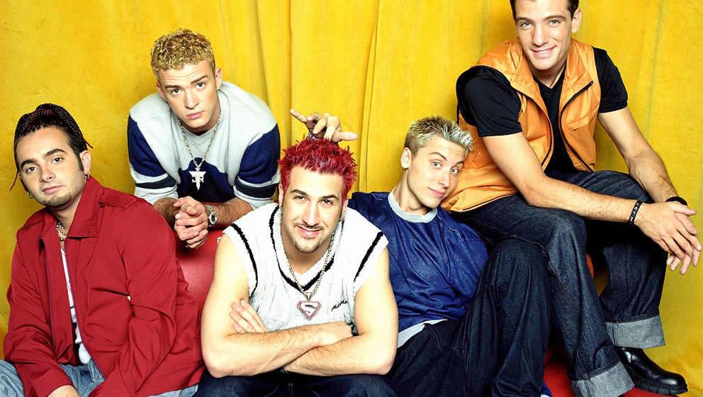 JC Chasez, Chris Kirkpatrick, Lance Bass, Justin Timberlake und Joey Fatone von *NSYNC bei einem Fotoshooting in Los Angeles
